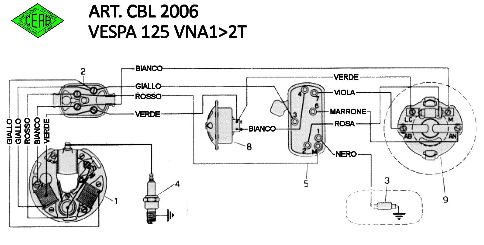 Schema Elettrico Vespa Et3 : Impianto elettrico vespa vna problema elaborazioni e